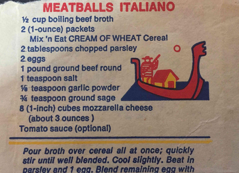 meatballs italiano cream of whet