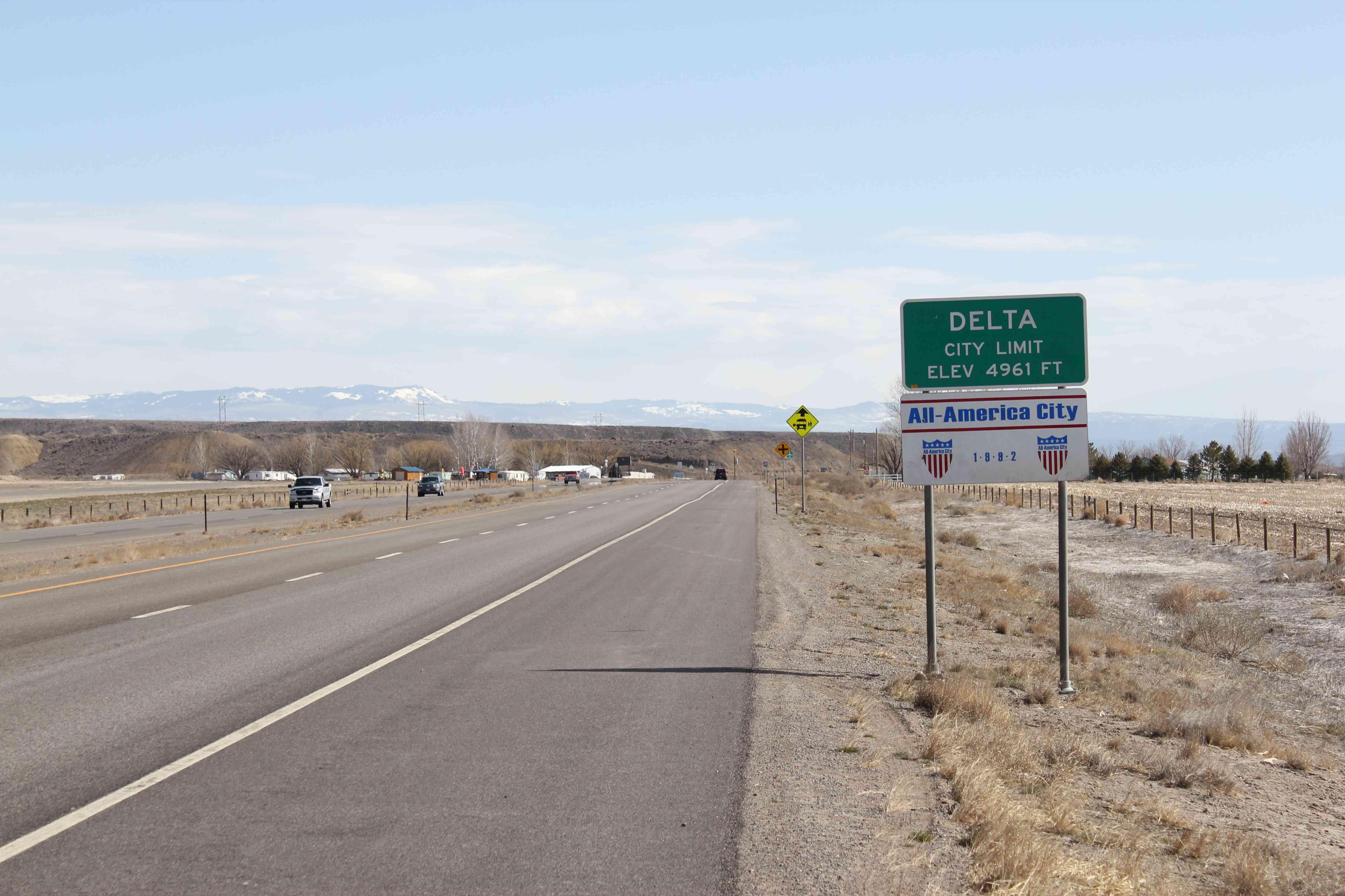 highway sign in Delta, Colorado