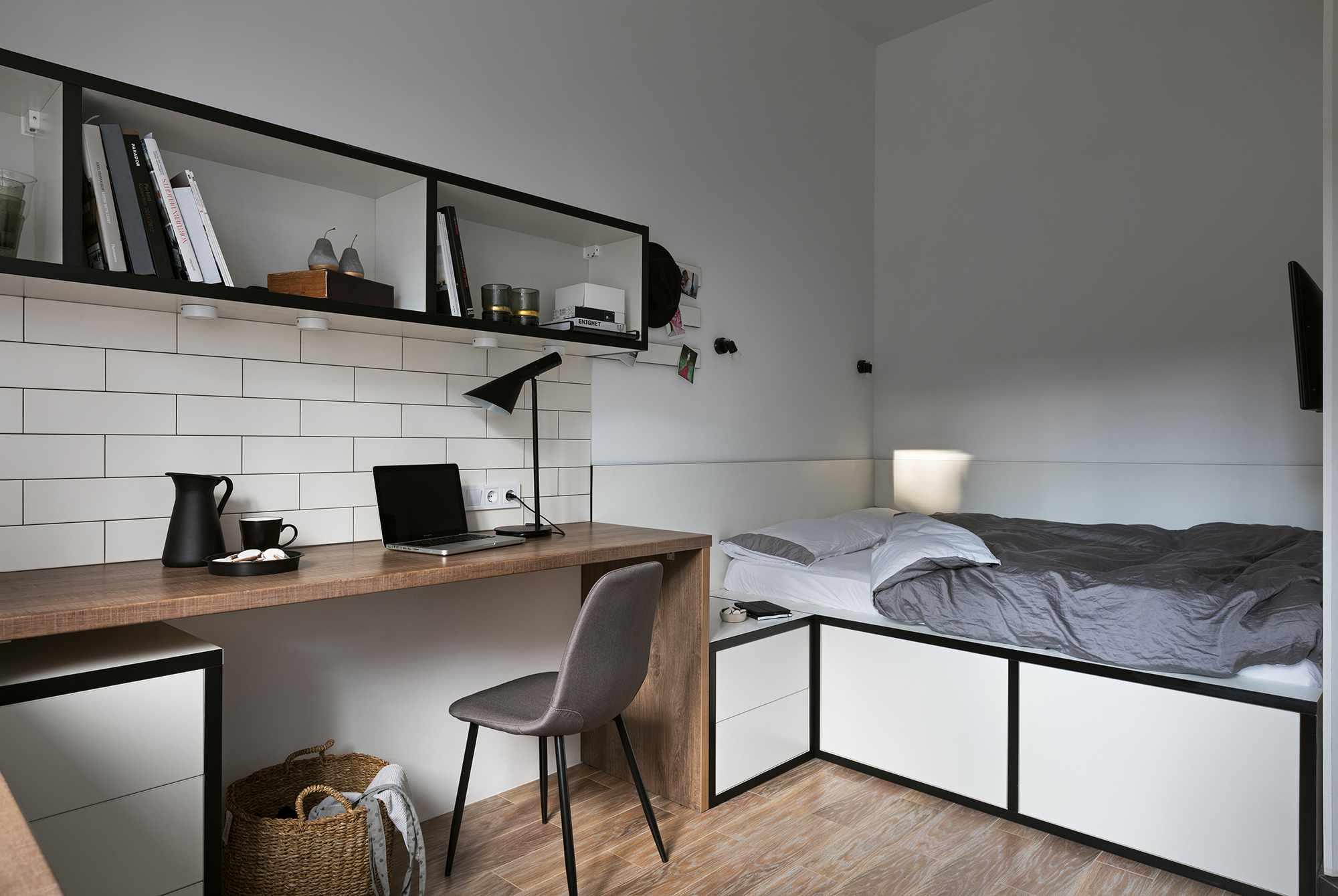 Odessa micro-apartment renovation Fateeva Design bed and desk