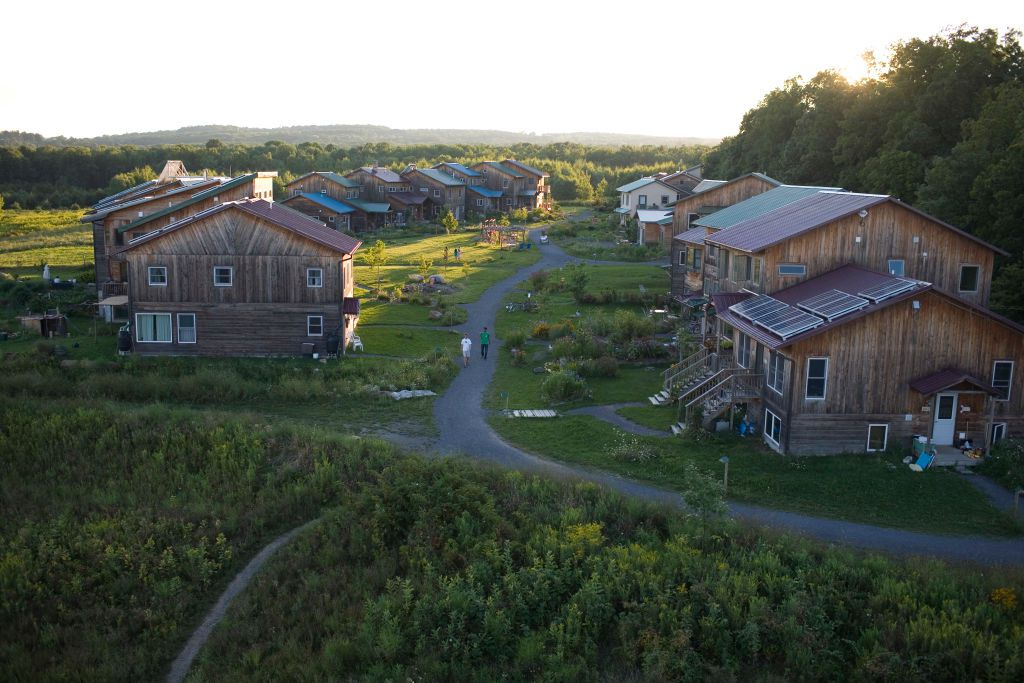 Cohousing neighborhood at the EcoVillage at Ithaca