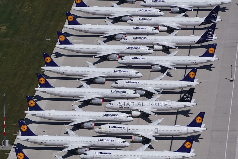 Parked airplanes