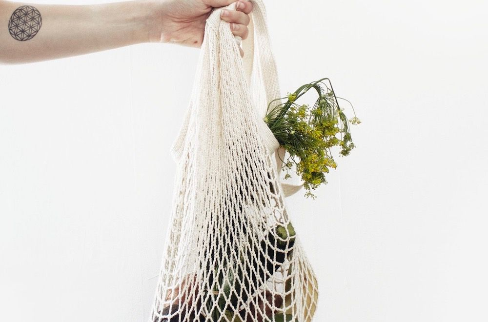 cloth bag with vegetables