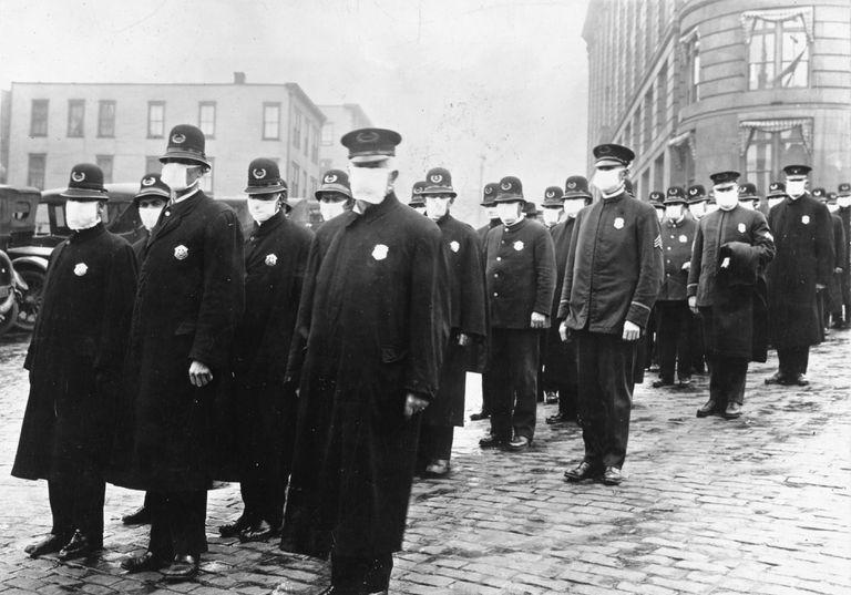 Policemen wearing masks in Seattle during the influenza epidemic, December 1918
