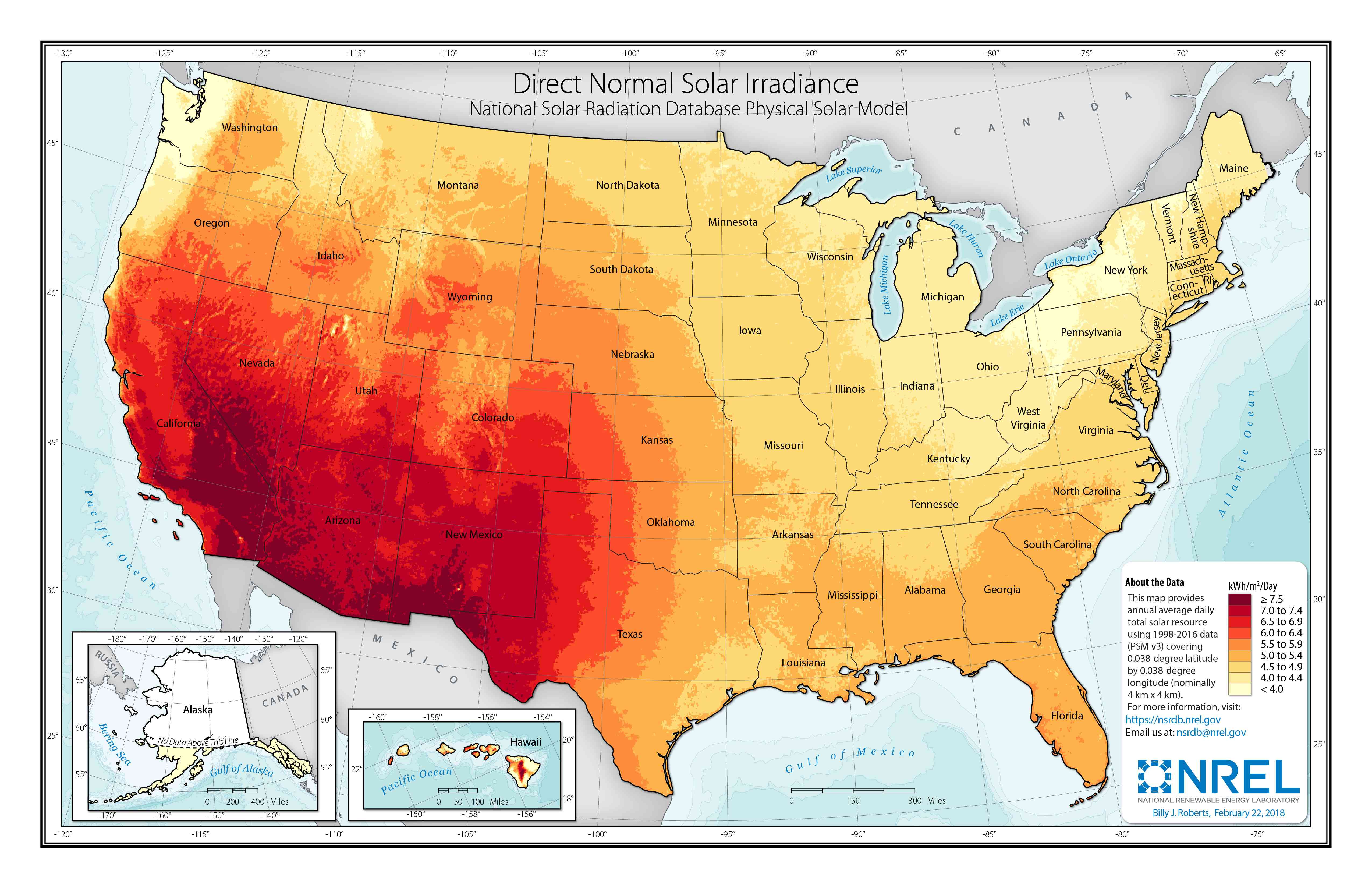 Map of direct normal solar irradiance in the United States