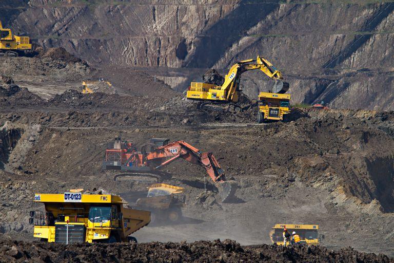 Heavy equipment mining coal