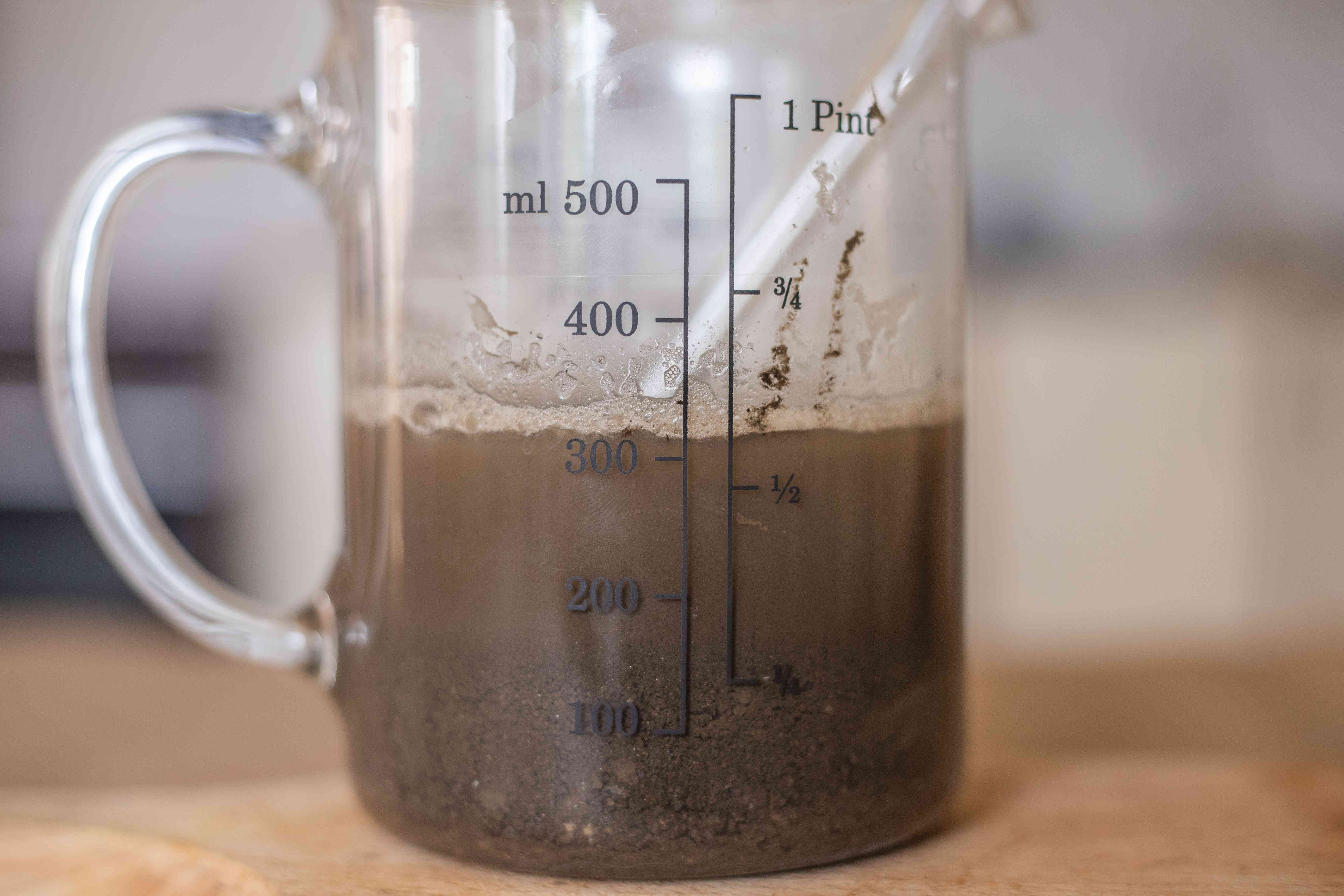 after vinegar is added, see if soil mixture foams or bubbles