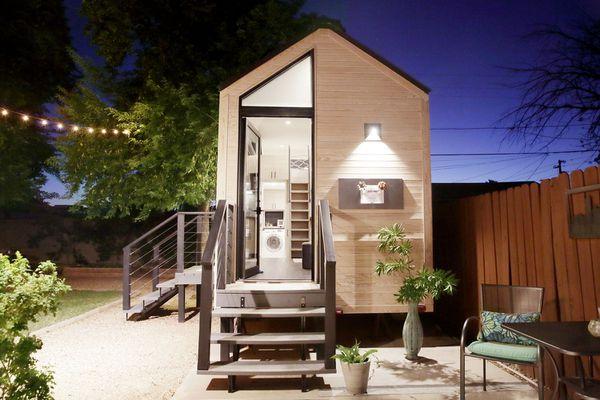 tiny house at night