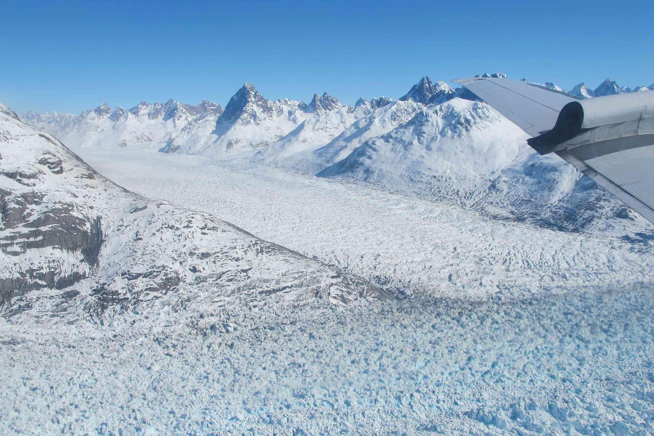 Aerial view of Helheim glacier from a NASA survey flight