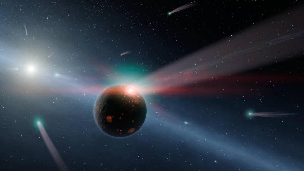 artist's rendering of a comet storm