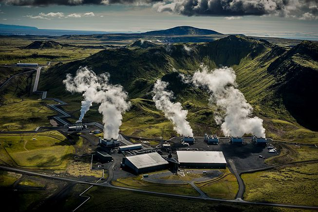 The Climeworks direct air capture CO2 plant at Iceland's Hellisheidi Power Plant