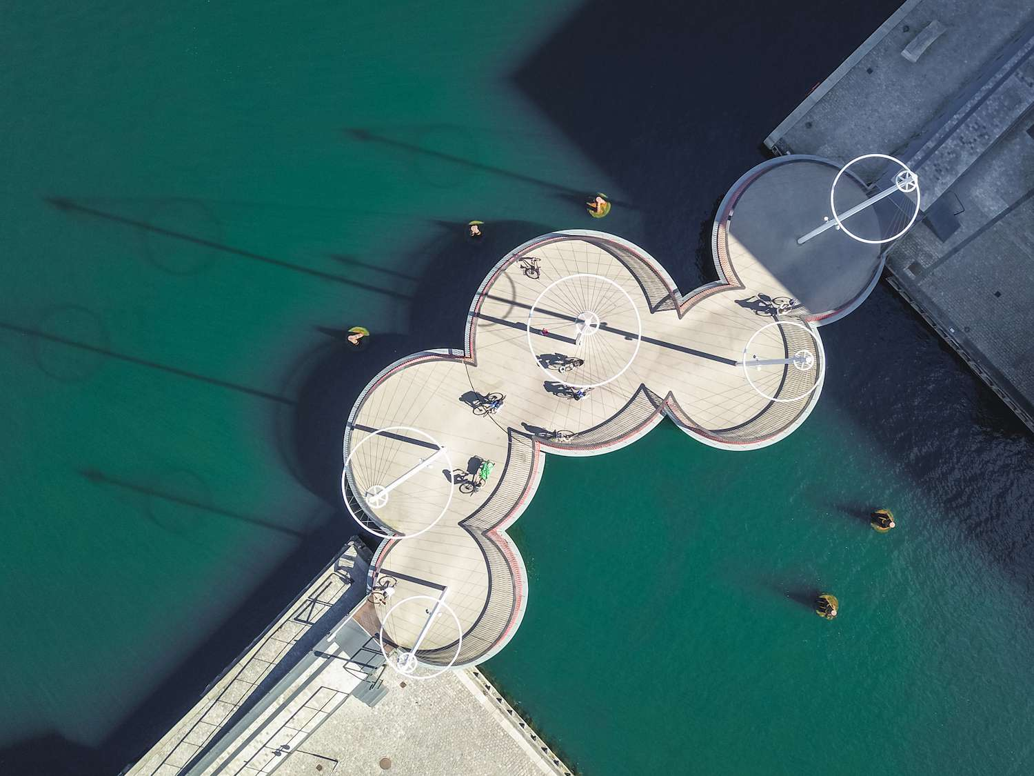 The five circles of the Circle Bridge in Copenhagen from an aerial view