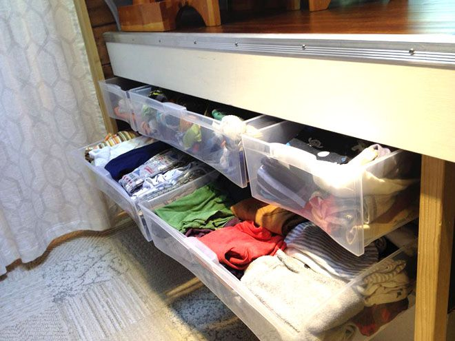 View of open clothing drawers
