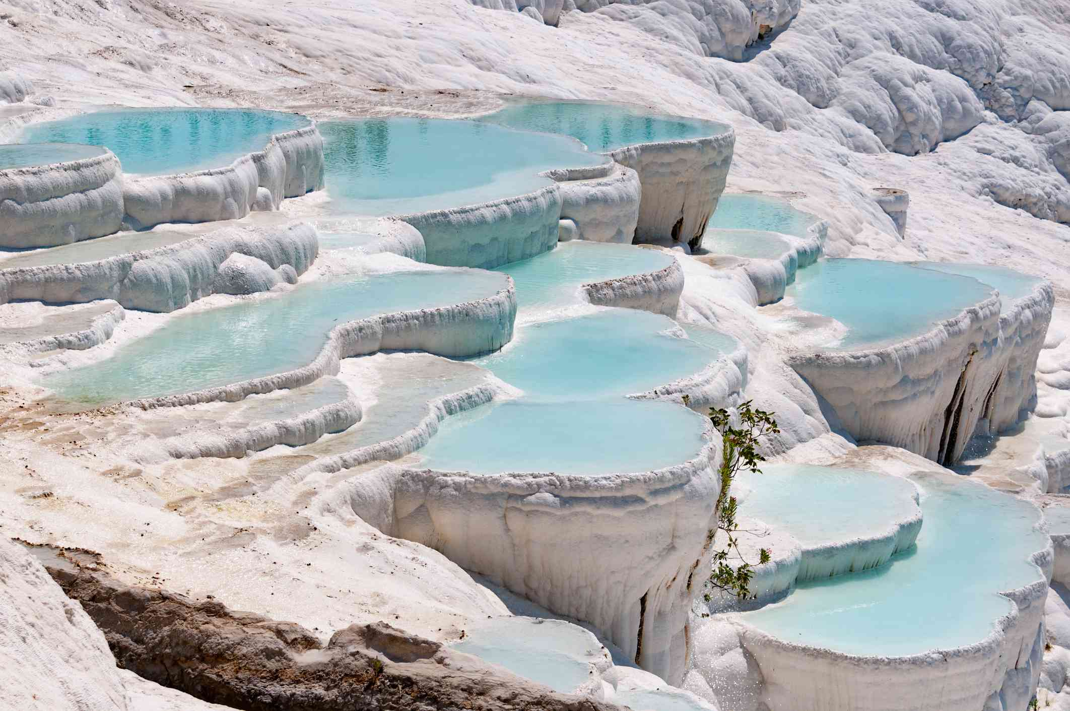 Turquoise pools in travertine terraces at Pamukkale, Turkey