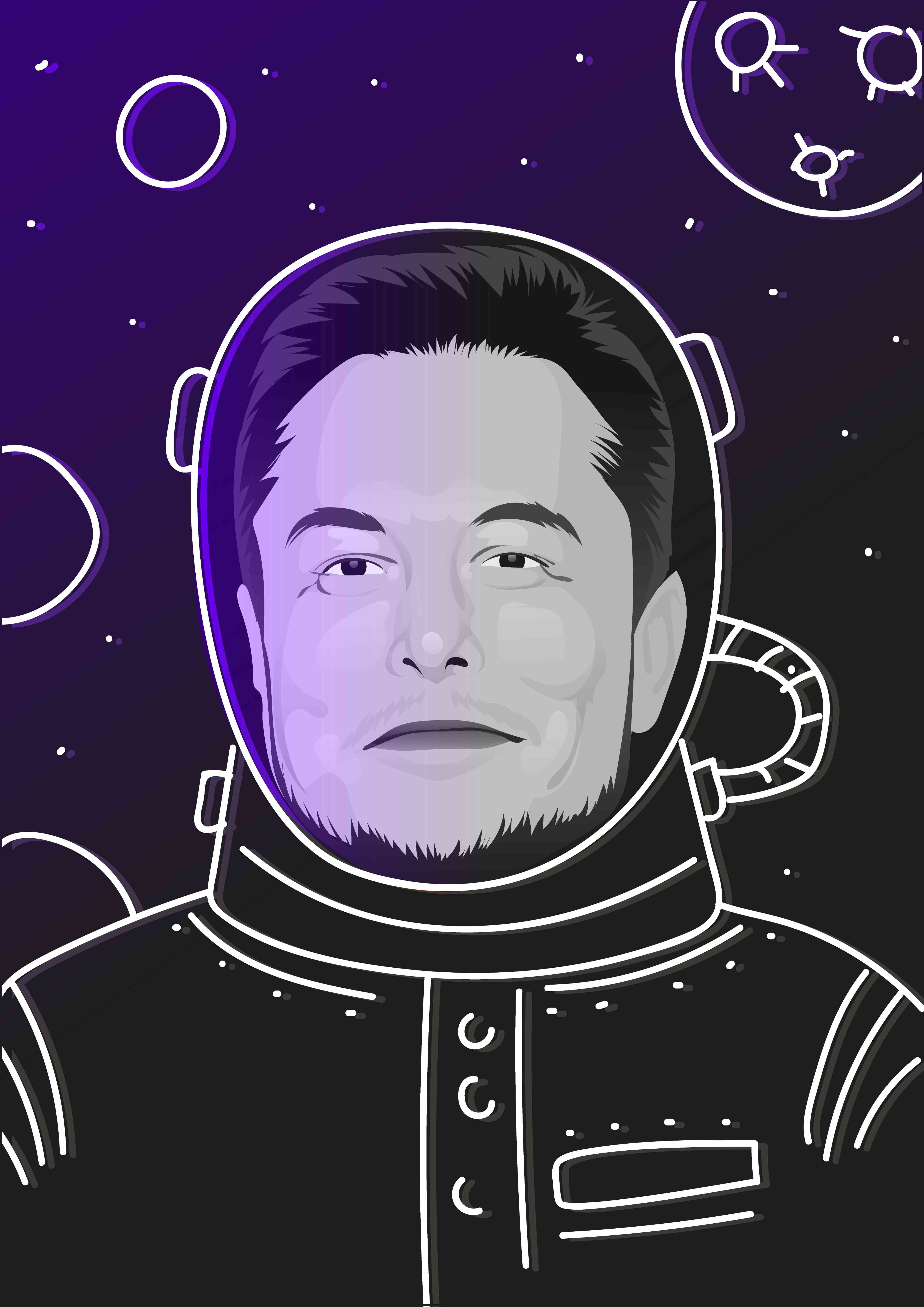 An illustration depicting Elon Musk in a spacesuit.