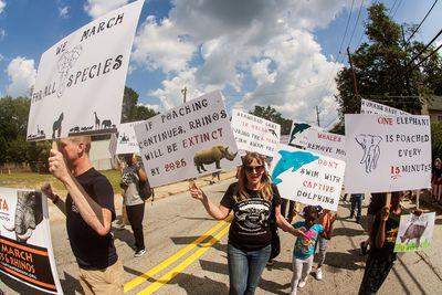 Animal rights activists at a festival in Atlanta