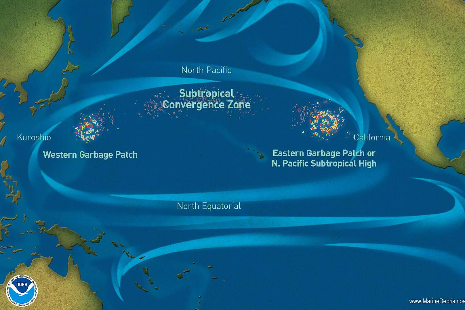 Map of four ocean currents that make up Great Pacific Garbage Patch and convergence zones where litter accumulates