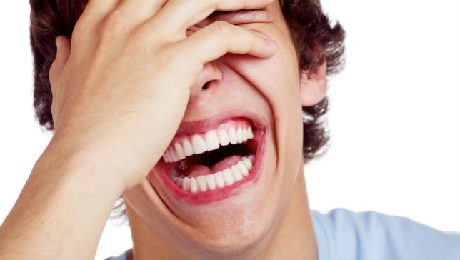 Man laughing hysterically