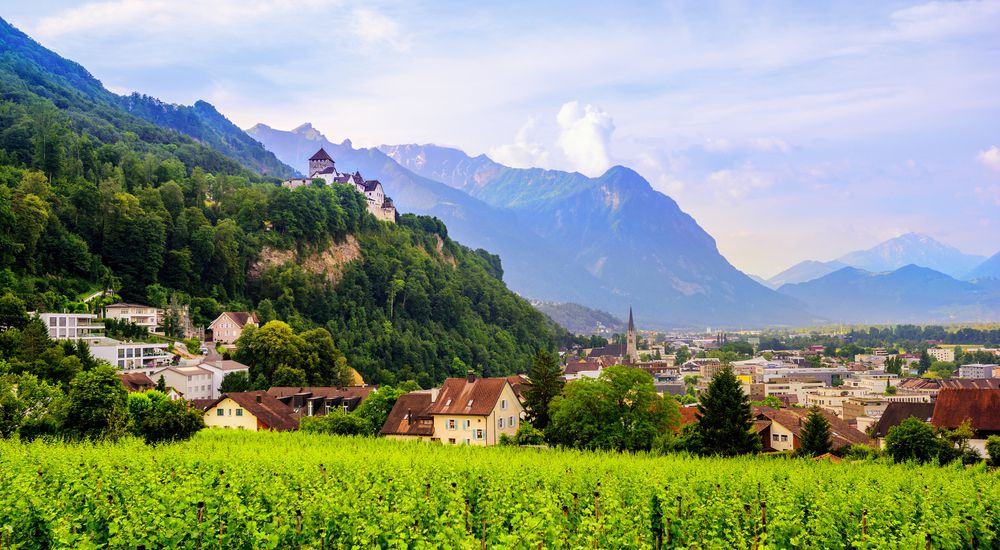 Lush green fields in the foreground give way to small valley of quaint buildings and a towering mountain in the background