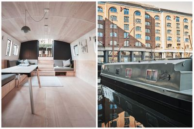 Side-by-side exterior and interior images of a small floating house