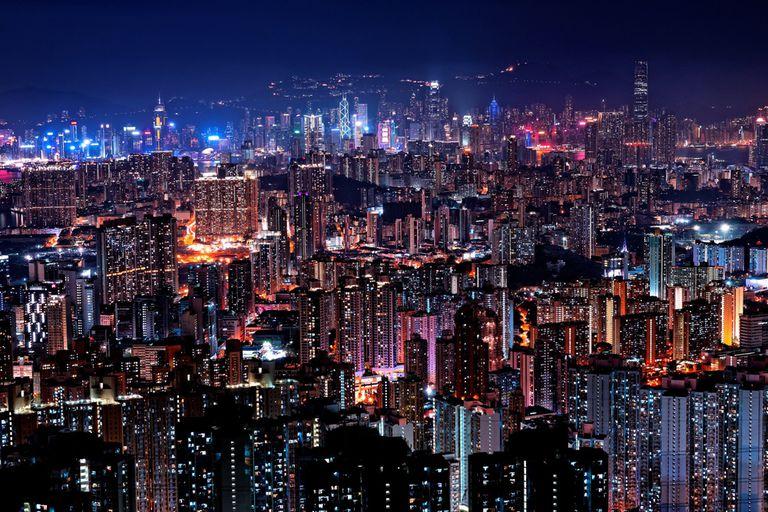 Hong Kong seen at night