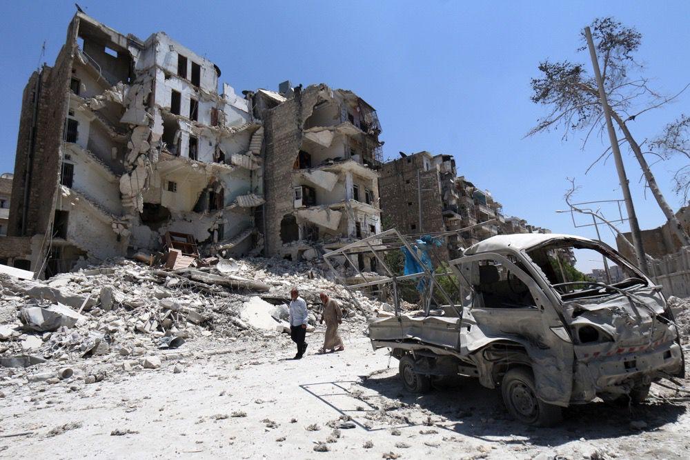 bombed Aleppo building