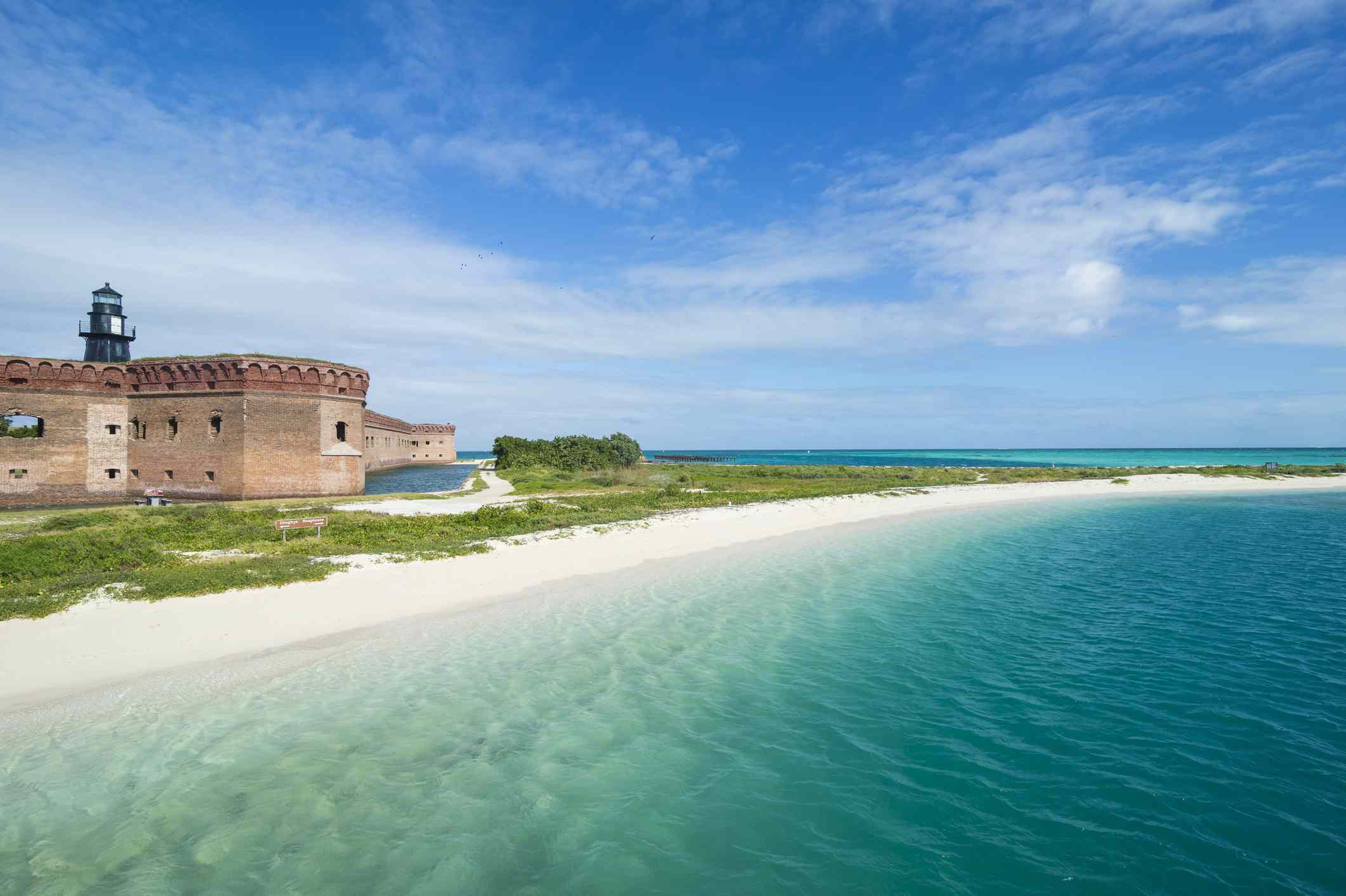 Turquoise blue water and white sand at Dry Tortugas National Park with Fort Jefferson just off the coast