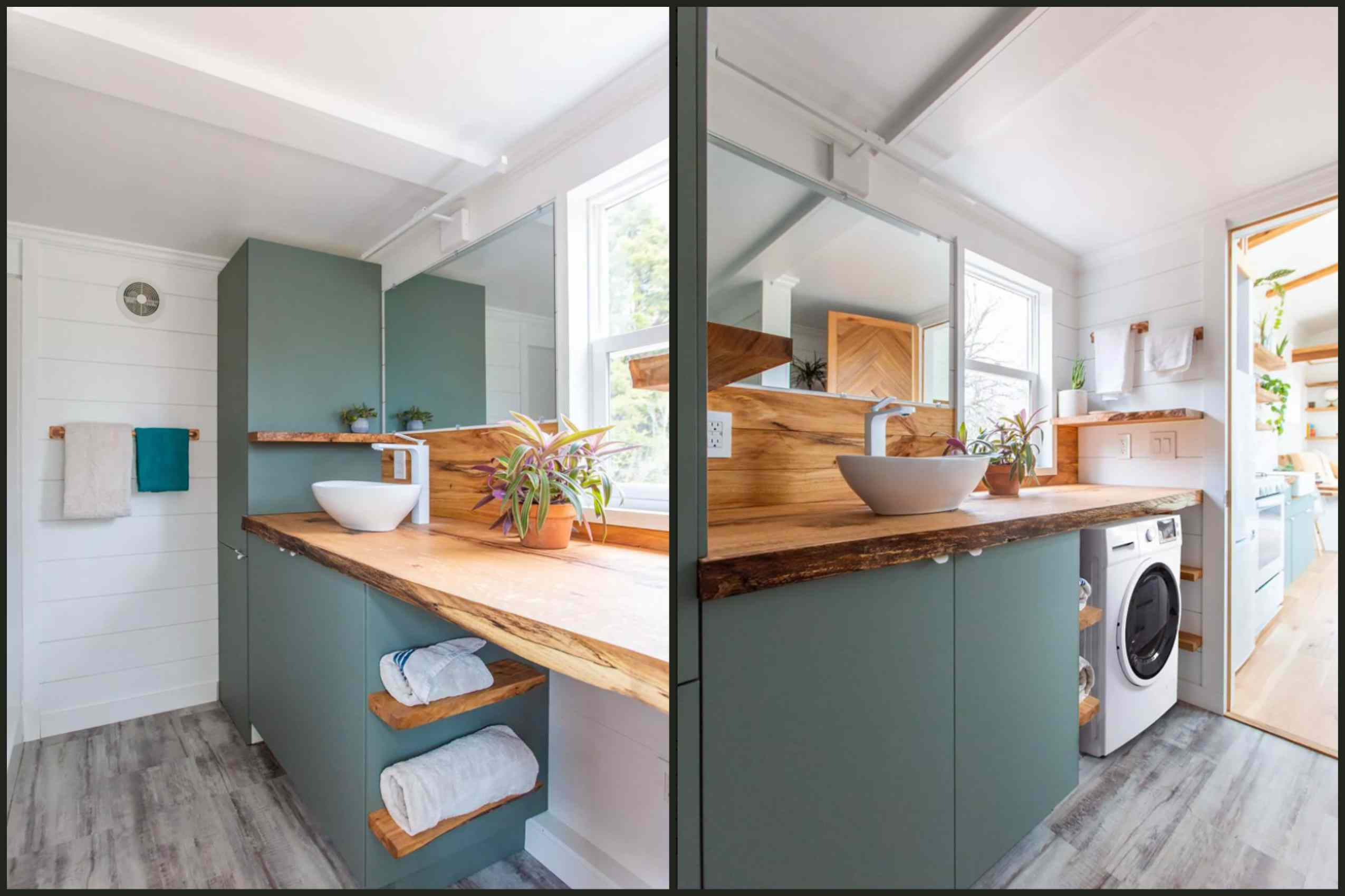 Two views of a bathroom in the Sycamore tiny house