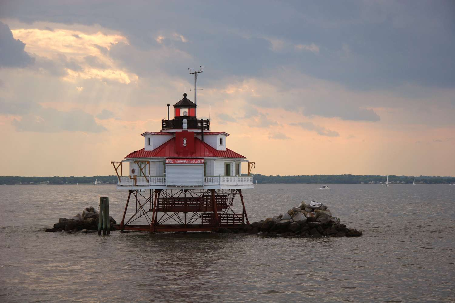 Thomas Point Shoal Light juts out of a tiny islet in the Chesapeake Bay