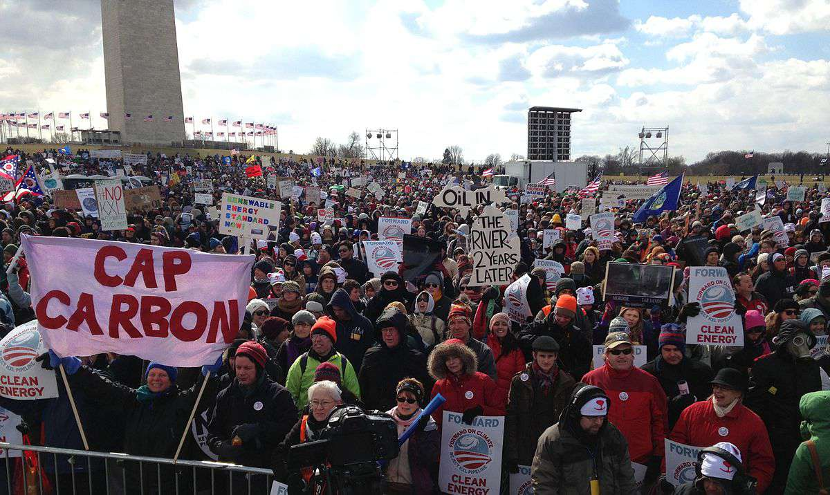 A crowd of 35,000 to 50,000 gathered near the Washington Monument on February 17, 2013 to protest the Keystone XL pipeline.