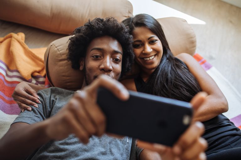 Couple on video call