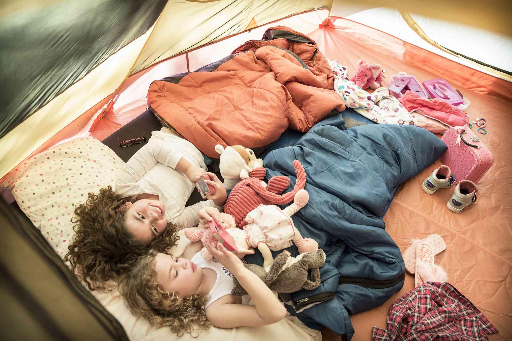 girls in sleeping bags