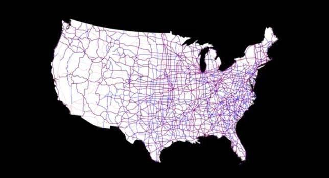 Roadways network across the US