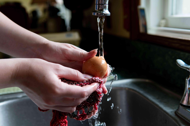 hands washing eggs in sink