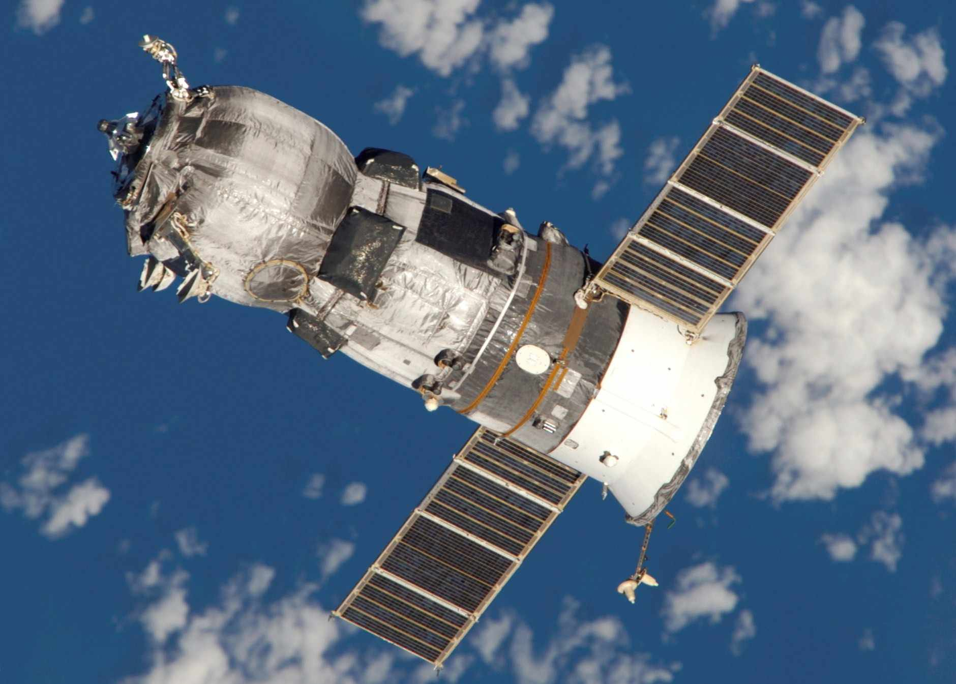 A Russian cargo spacecraft makes delivery in space