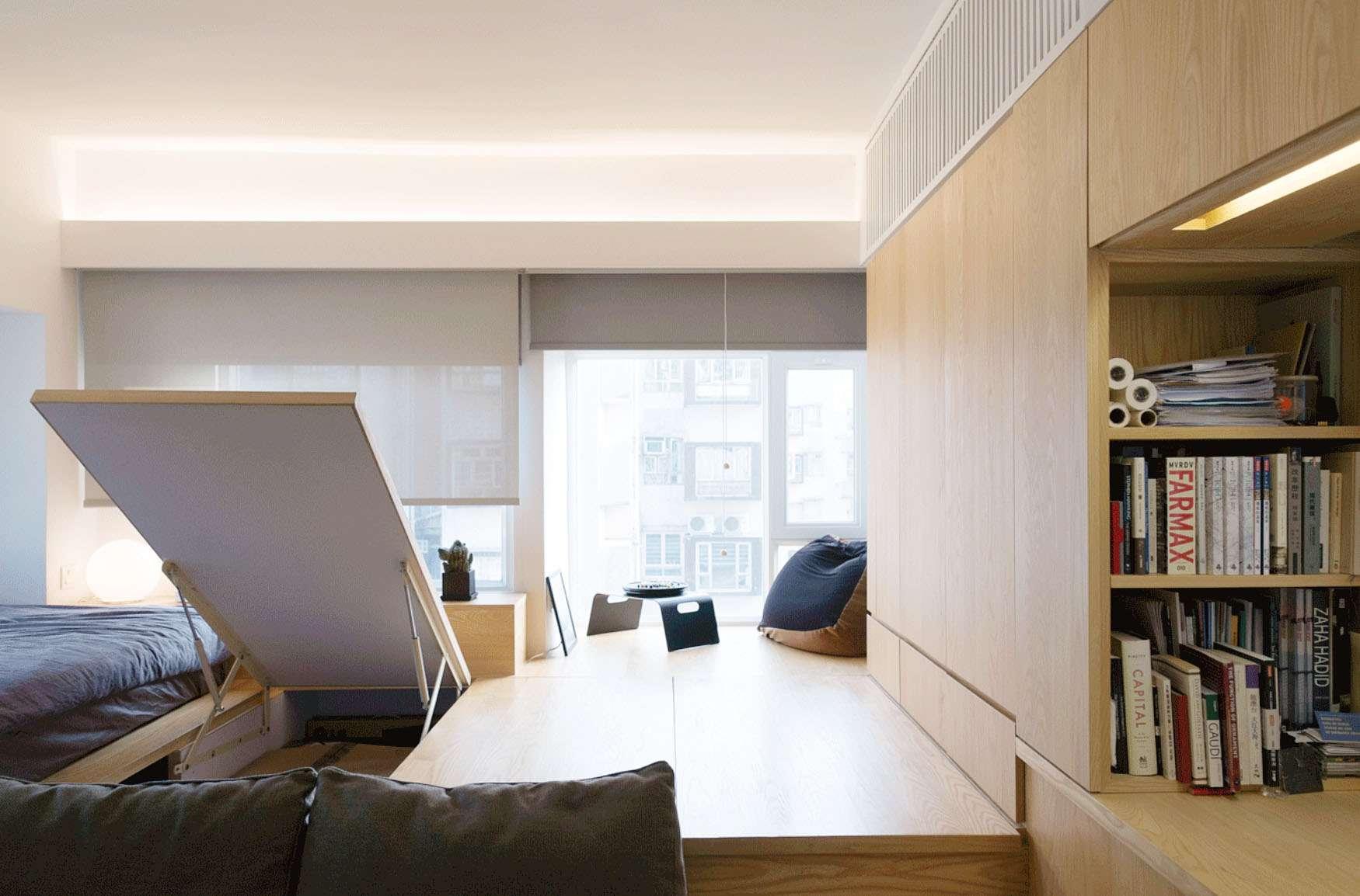 micro apartment renovation Design Eight Five Two platform storage underneath