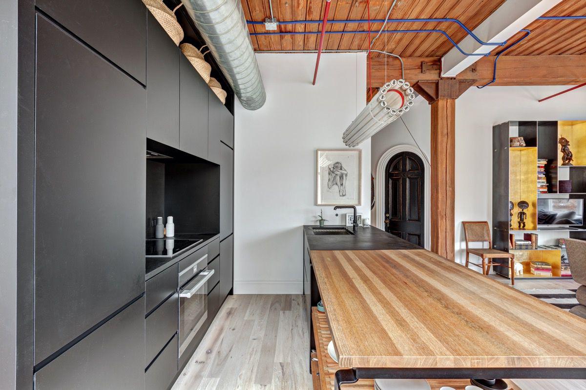 kitchen with castor fixture