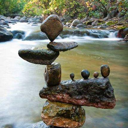 Wabi sabi balanced stones