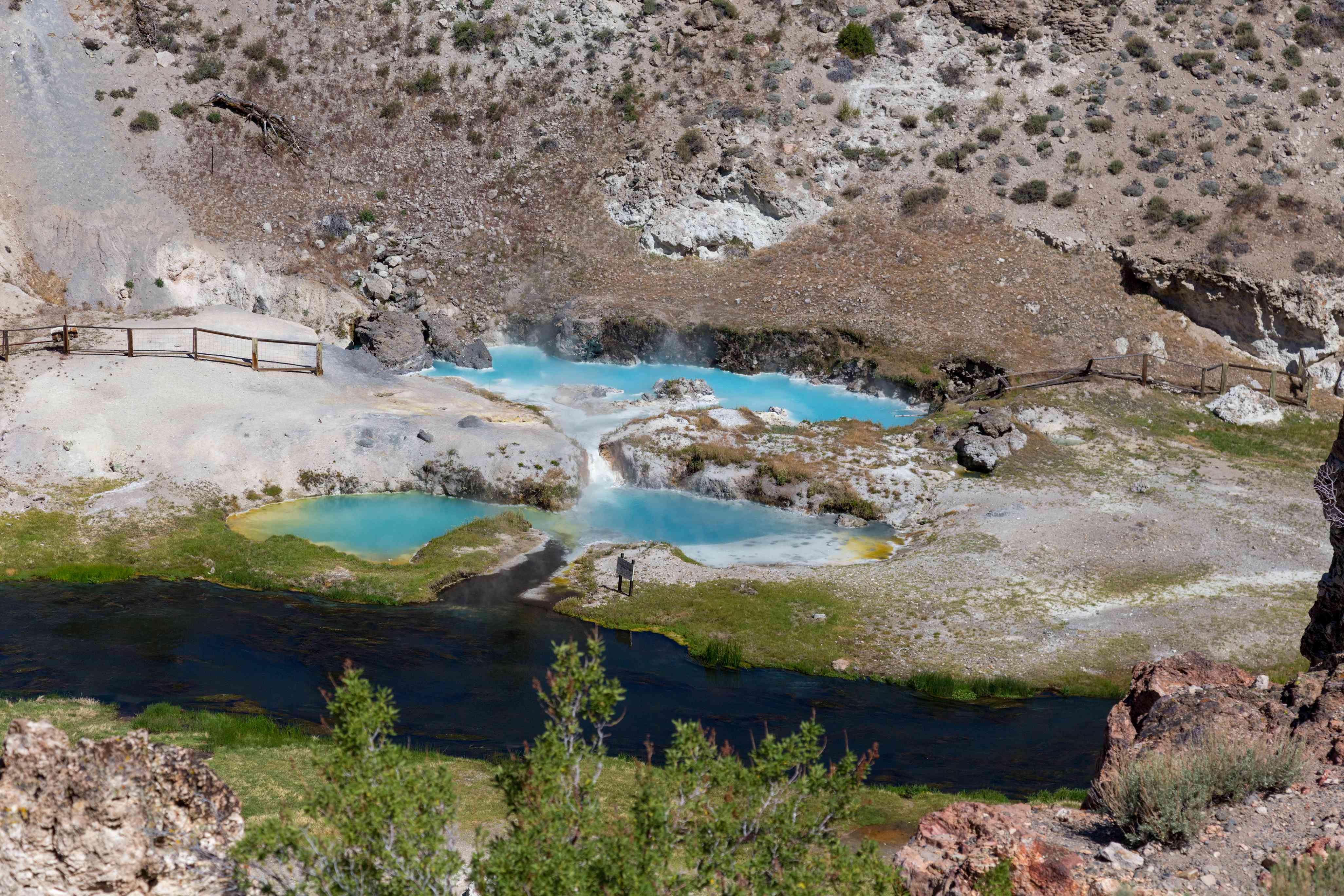 Bright blue thermal pools in the Long Valley Caldera