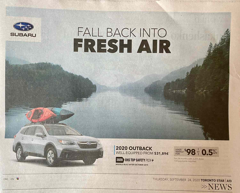 Subaru ad selling fresh air