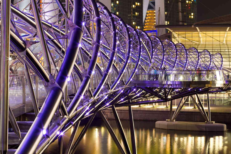 The Helix Bridge in Singapore illuminated at night