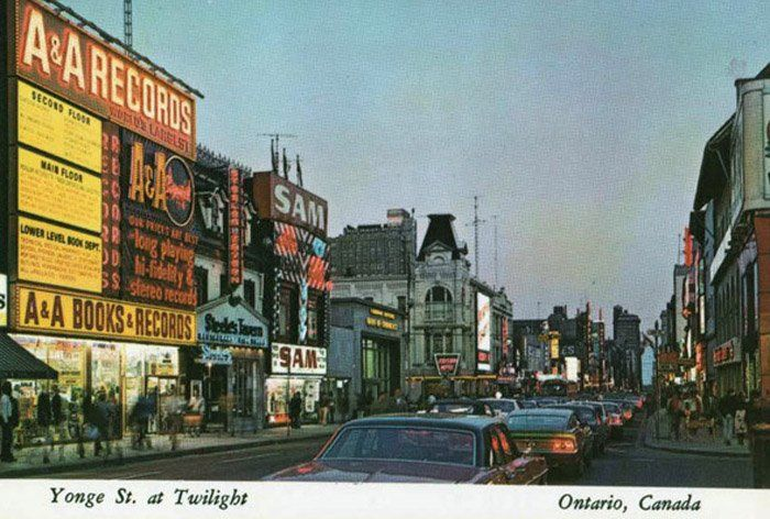 Postcard Yonge St at Twilight, Ontario, Canada