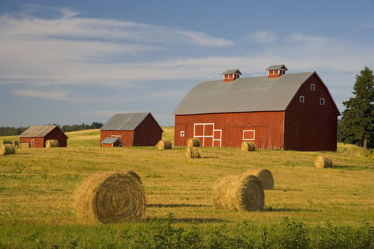Farm with red barn.