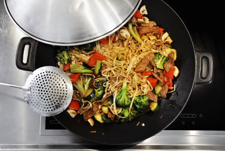 Stir fry cooked in a wok