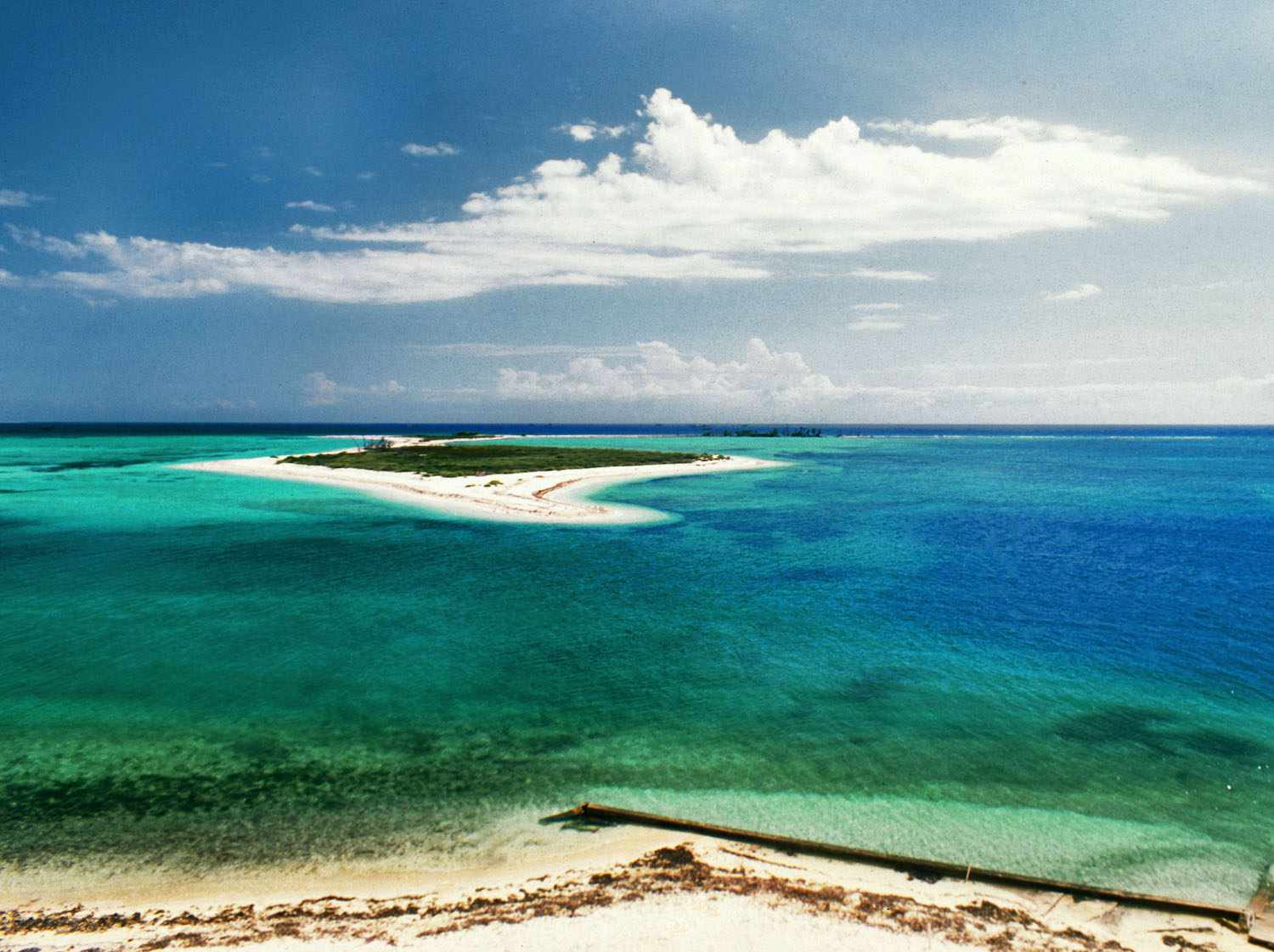 A greenish-blue waters of Dry Tortugas in Key West Florida