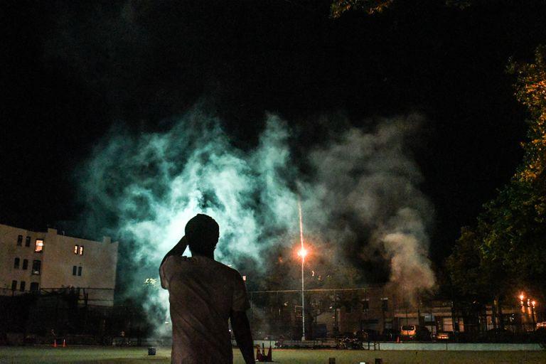 Setting off fireworks in Brooklyn