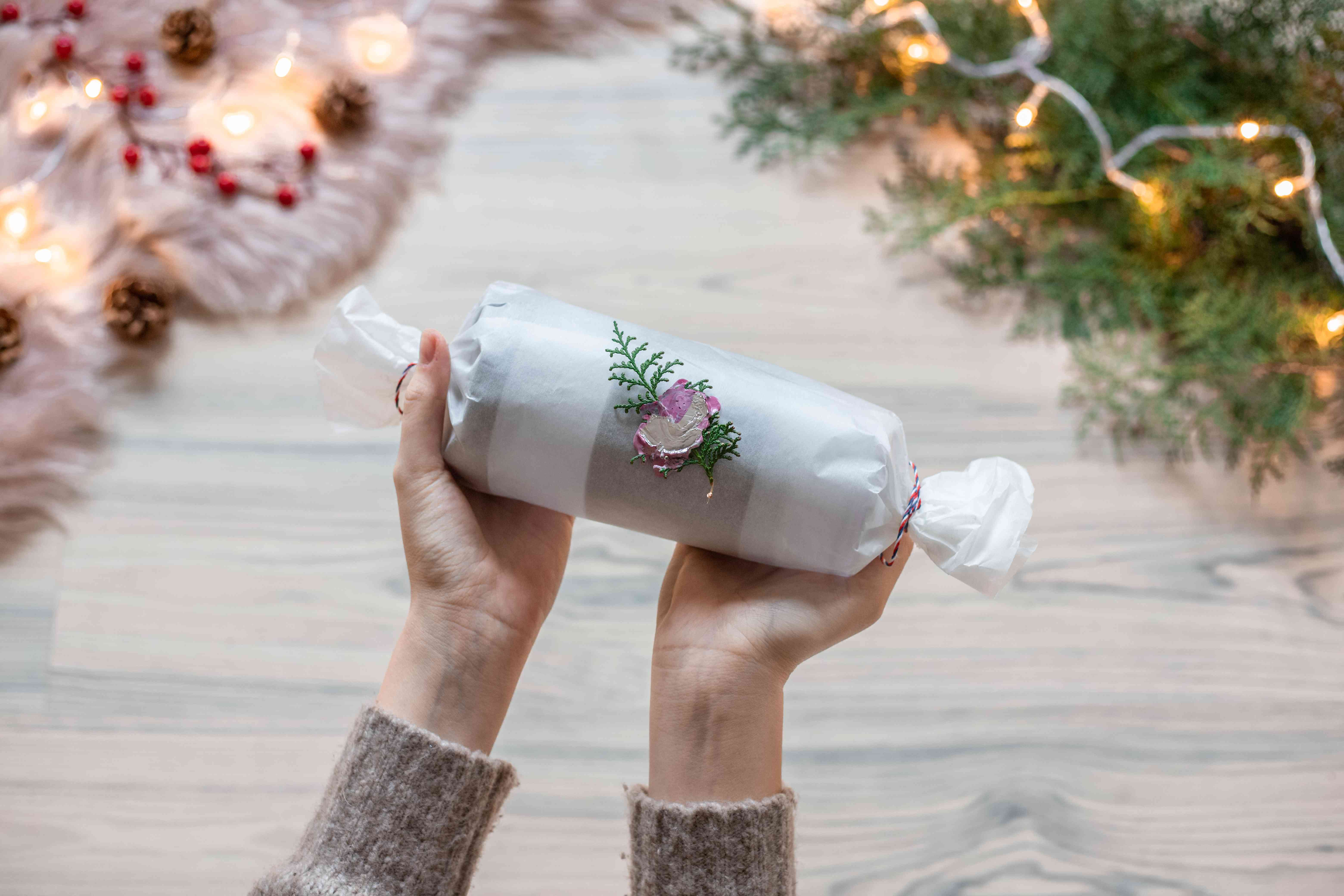 parchment wrapped coffee cup with christmas flair