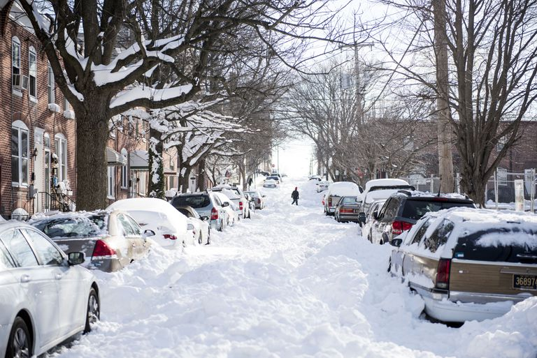 A neighborhood covered in snow