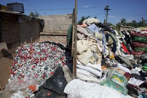 clothes and cans await recycling