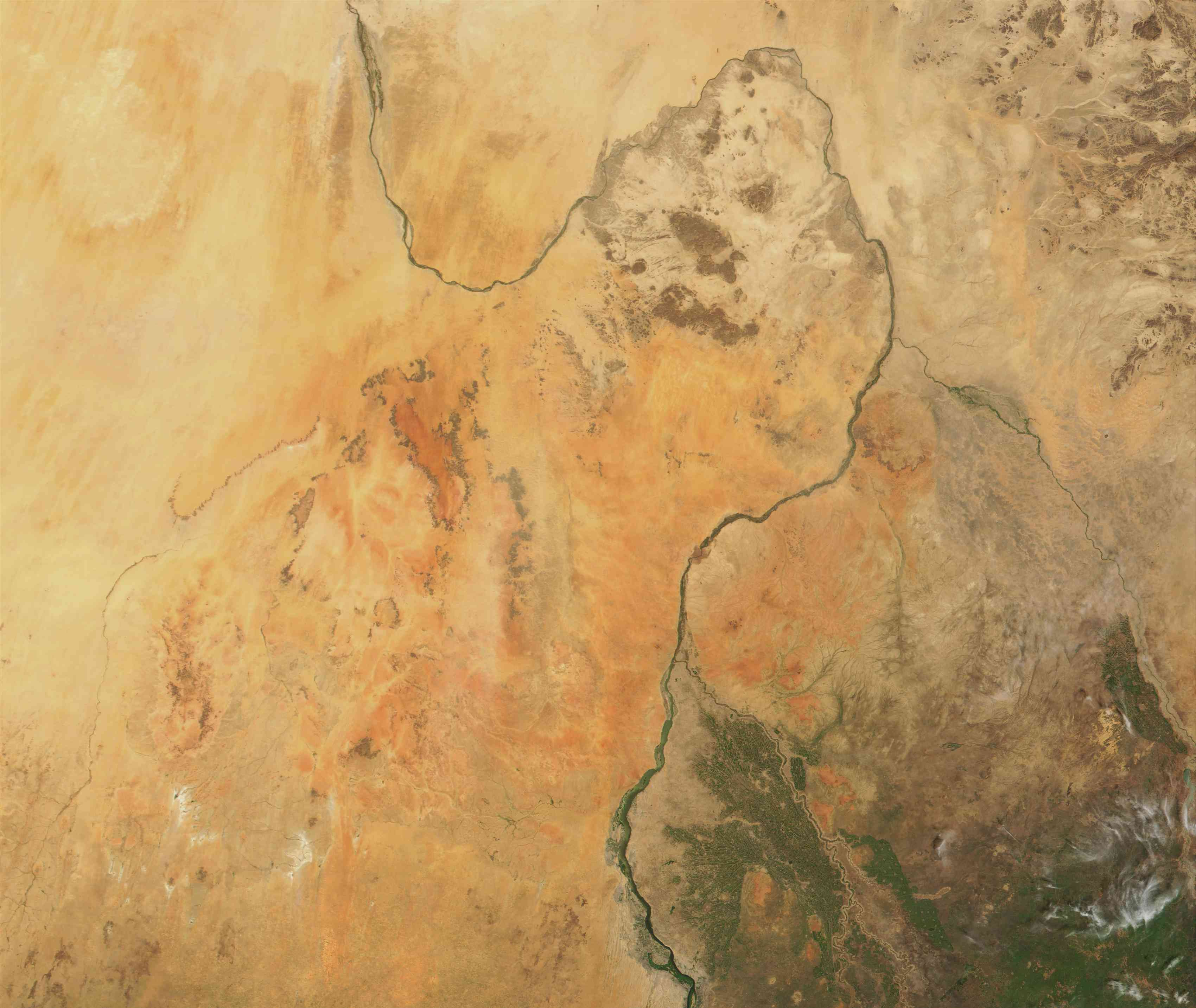 Great Bend of the Nile River in the Sahara desert, Sudan