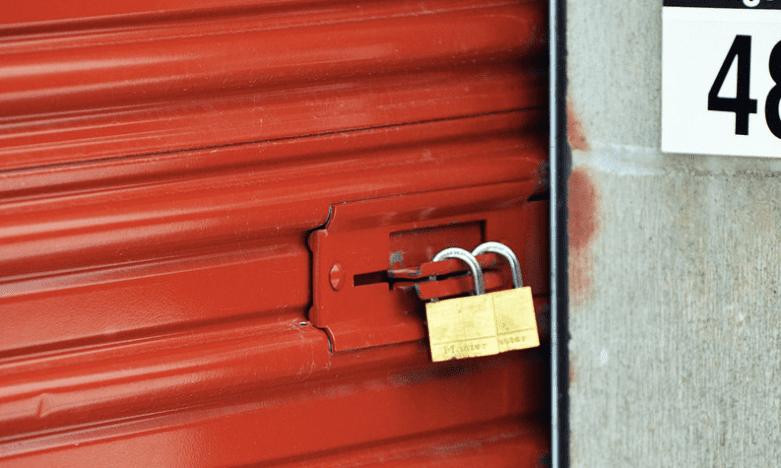 Storage unit padlocked door